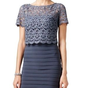 Betsy & Adam Women's Short Jersey Lace dress